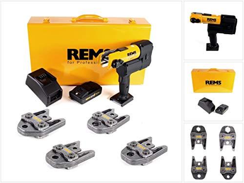 REMS Accu-Press 22V ACC + 1x accu 2,5Ah + snellader + drukbekken perstangen standaard V15,18,22, 28 in plaatstalen doos