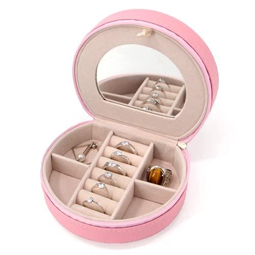 Joyero Pequeño de Viaje redondo. Mini Organizador Joyería. Caja Joyas Portátil con Espejo y Cremallera para anillos, pendientes, pulseras, collares.