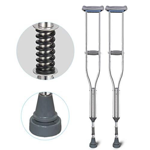 GFQ Achselkrücken(Paar), mit Dämpfungsfeder, komfortable medizinische Krücke für Erwachsene mit Stoßdämpfer, 9 höhenverstellbar, Verhinderung von Schwellungen und Schmerzen in der Achselhöhle