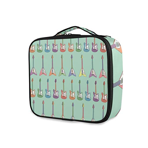 Gereedschap make-up tas voor dames, draagbare kleurrijke elektrische gitaar, toiletartikelen, reizen.
