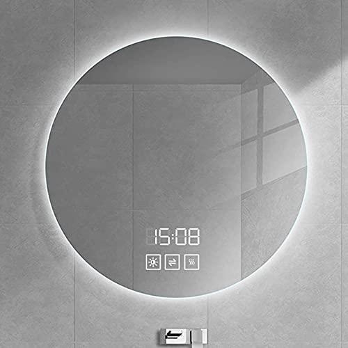HHDD Redondo Espejo de Baño de Pared LED, con Botón Táctil Regulable y Almohadilla Antivaho, Espejo de Maquillaje Iluminado, Espejo Retroiluminado por LED