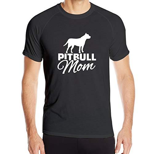 MKDIJIUWL Pitbull Mom - Camiseta de entrenamiento de manga corta para hombre, color negro