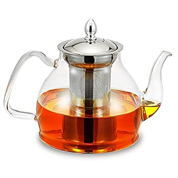 Glass Teapot Kettle 1200mL/40oz with Stainless Steel Removable Infuser for Blooming Tea & Loose Leaf Tea Microwave & Stovetop Safe Gooseneck Tea Pot Maker Gift Box