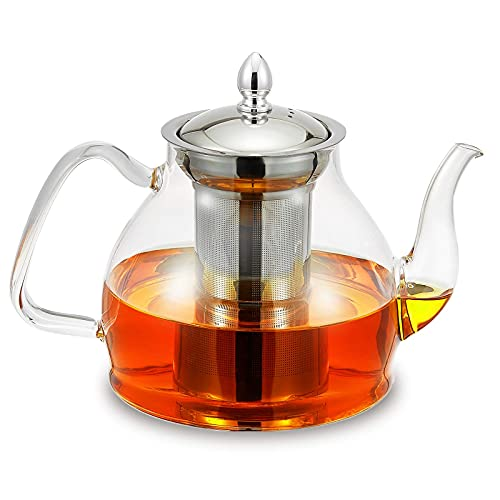 Glass Teapot Kettle 1200mL/40oz with Stainless Steel Removable Infuser for Blooming Tea & Loose Leaf Tea, Microwave & Stovetop Safe, Gooseneck Tea Pot Maker, Gift Box