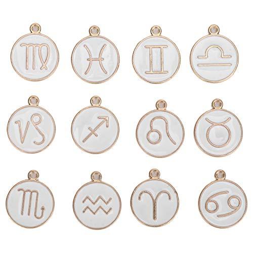 Xndz Collar Colgante de 12 Constelaciones, Colgante de 12 Constelaciones Amplia Gama con diseño de Doble Cara para Hacer Joyas de Bricolaje(White)