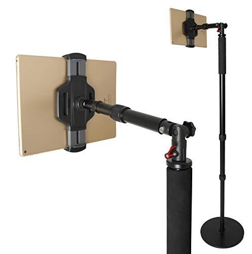 Photecs® Tablet-Bodenständer Pro V3 mit Teleskop-Ausleger, Boden-Stativ (höhenverstellbar bis ca. 2 m), Profi Tablet-Ständer/-Stativ für iPad Pro 12.9 & Tablet-PC bis 14 Zoll