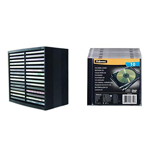 Fellowes CD Storage Unit, Holds 30 Discs & 98310 Cd Jewel Case - Black (Pack of 10)