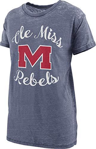 Press Box Women's Ole Miss Rebels Vintage Tee Short Sleeve Boyfriend Tee (Large)