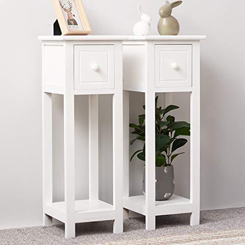 BLUE HORIZON Pair of White Beside Table Tall Slim Telephone Hallway Bedside Tables Units End Table Nitghtstands with Storage Drawer