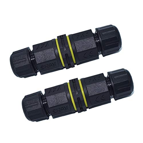 IP68 Waterproof Junction Box,3 Pole/Wire External Electrical Junction Box Cable Connector Protection for Underground Outdoor, Cable Range 0.18-0.39 in, Shielded, Field Installable-2 Way 3 Wires