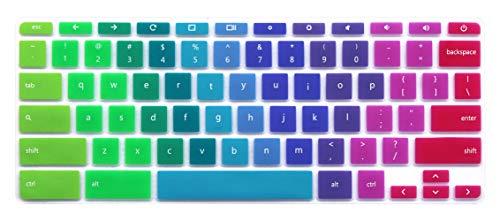 """Silicone Keyboard Skin for HP Chromebook 14-X 14-ak 14-ca 14-db Series, HP Chromebook 14 G2 G3 G4 Series, HP Chromebook 11 G2, G3, G4, G5, G6 EE Series, 11.6"""" HP Chromebook x360 11-ae Series Rainbow"""