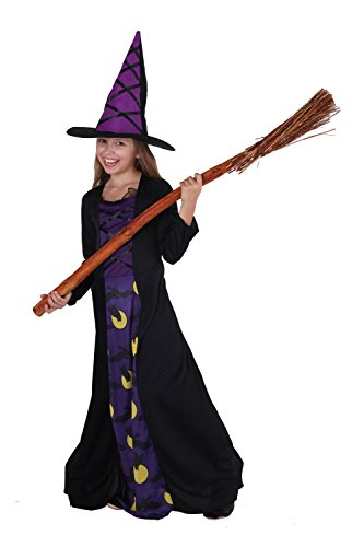 Magicoo La Strega Gufo - Costume Strega Bambina Viola/Nero con Cappello da Strega- Costume Chic Halloween Bambina (4-6 Anni)