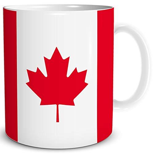TRIOSK Tasse Flagge Kanada Länder Flaggen Geschenk Nordamerika Souvenir Canada für Reiselustige Frauen Männer Arbeit Büro Weltenbummler