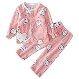 DEBAIJIA Bebé Ropa de Casa 2-12T Infantil Homewear Niños Pijama Niña Ropa de Dormir Niño Camisones Invierno Calentar Franela (Rosa-110)