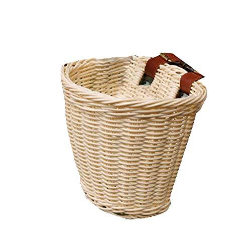 Jtoony Cesta de mimbre para bicicleta para niños, impermeable, cesta de la compra, cesta de ratán, cesta de bicicleta, cesta para scooter, cesta (tamaño: 210 x 160 mm), color blanco