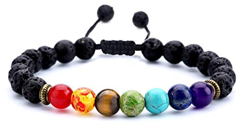 8mm Lava Rock Bracelets for Women Men,7 Chakras Braided Rope Natural Stone Yoga Beads Bracelet,Stretch Adjustable Essential Oil Beaded Bracelets (1-Lava Rock)