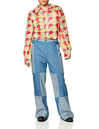 Disfraz Retro de los 70, Camisa y Pantalones Patchwork de Denim