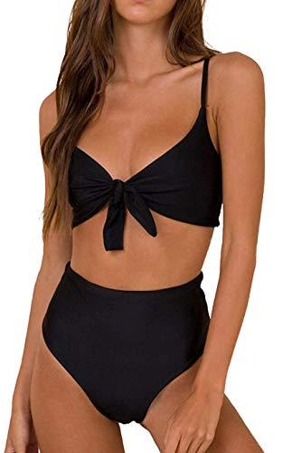 JFAN Femmes Taille Haute Bikinis Ensemble Push Up Rembourré Cravate Nouer Maillot de Bain Bikini Vintage,Noir-L