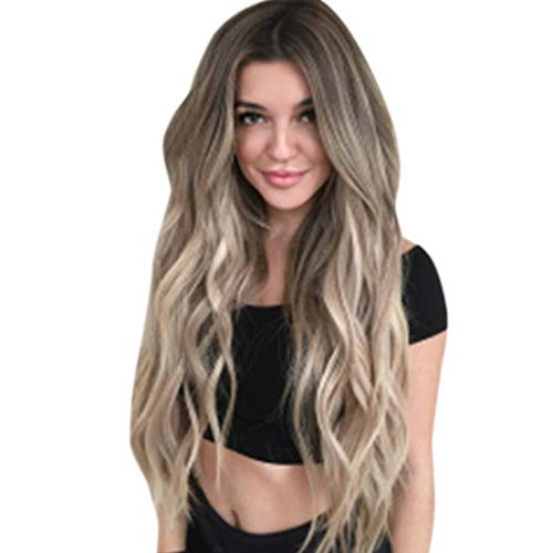 BXzhiri Wigs for Women, Mix Colors Gradient Long Curly Synthetic Wig Full Wig Wavy Wig for Daily Party Cosplay