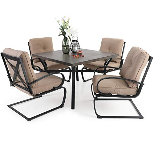 PHI VILLA 5 PCS Patio Dining Set, 4 Piece C-Spring Motion Chairs with Padded Cushion & 43.9' Metal Square Dining Table with 1.97' Umbrella Hole, Beige Cushion