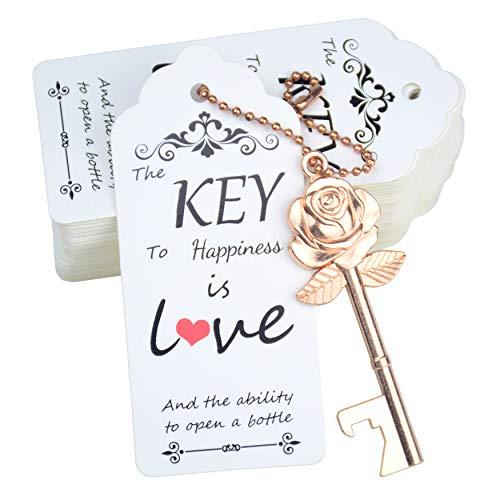 Aokbean 52Pcs Key Bottler Openers Rose Flower Key Opener Wedding Favors Key Bottle Opener Rustic Wedding Favor with Escort Tag Card and KeychainRose Gold