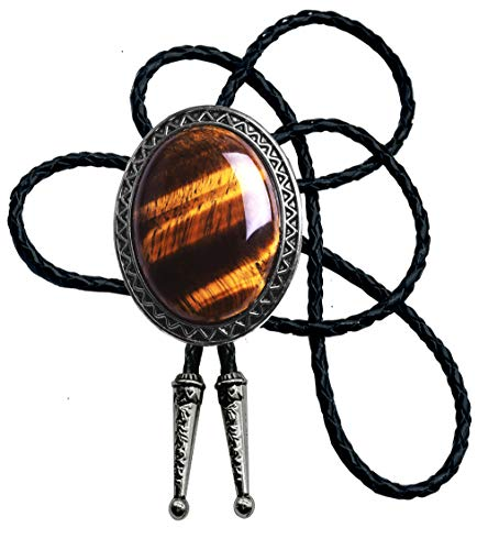 Moranse Bolo Tie with Natural Tiger Eye Stone Celtic Style Genuine and Cowhide Rope (Tiger eyes 1 style)