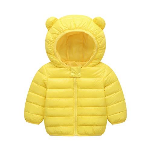 Geilisungren Kinder Kleinkind Daunenjacke mit Bärenohren Kapuze Winter Mäntel Baby Junge Mädchen Einfarbige Reißverschluss Steppmantel Warm Schneeanzüge Outwear für 1-4 Jahre