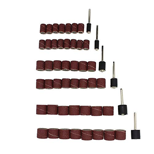 GFHDGTH 80Grit Trommelschleifen Schleifpapier Kreis Kit Poliernägel für Dremel Gummi Trommel Dorn 1/2 3/8 1/4 Zoll Grinder, 63PCS