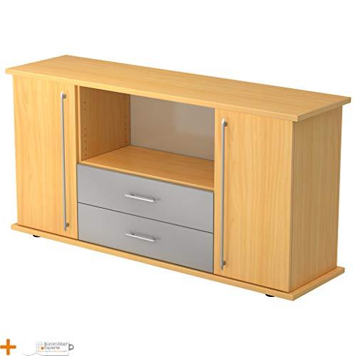 Kantoormeubel Expert dressoir kantoorkast archiefkast houten deuren 3 planken Relinggriff beuken