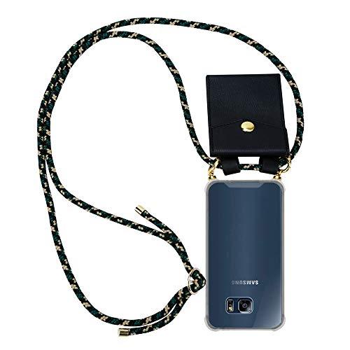 Cadorabo Handy Kette für Samsung Galaxy S6 Edge in Camouflage – Silikon Necklace Umhänge Hülle mit Gold Ringen, Kordel Band Schnur & abnehmbarem Etui – Schutzhülle