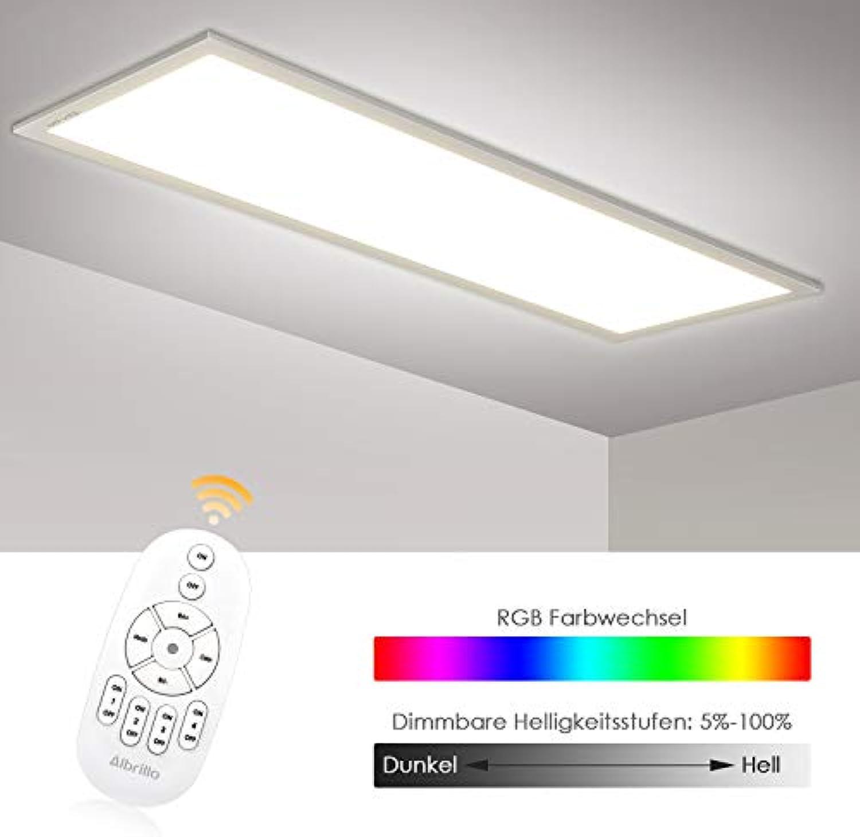 Albrillo RGB LED Panel 120x30cm - 40W Dimmbar Deckenleuchte mit 7 Lichtfarben und Neutralwei 4000K, Inkl. Einstellbare Seilaufhngung, Montage Klemme, Fernbedienung und LED Trafo