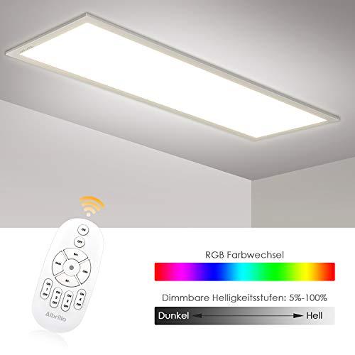 Albrillo RGB LED Panel 120x30cm - 40W Dimmbar Deckenleuchte mit 7 Lichtfarben und Neutralweiß 4000K, Inkl. Einstellbare Seilaufhängung, Montage Klemme, Fernbedienung und LED Trafo