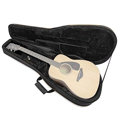 Knox Gear KN-SGC01 Acoustic Dreadnought Guitar Lightweight Hard-Foam Case w/ Back Straps, black