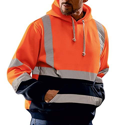 Dihope, heren sweatshirt, capuchon, hoge zichtbaarheid, trui met lange mouwen, reflecterend, werkkleding, warm, sweatshirt, veiligheidsjas
