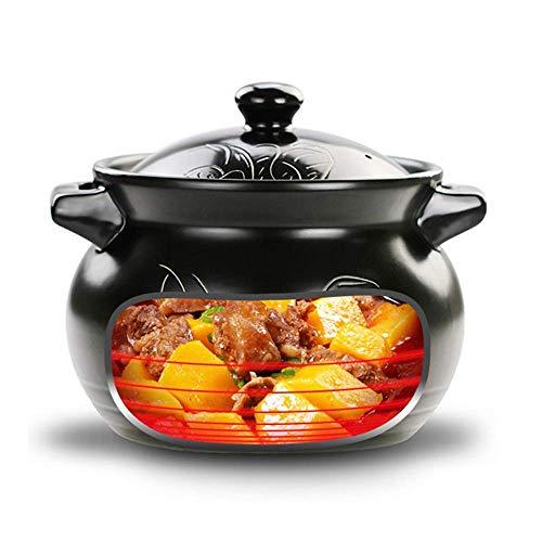 zxz Keramiksuppenauflauf, 3,9 l hochtemperaturbeständiger Haferbrei-Suppenauflauf, geeignet für elektrische Keramikheizung, offenes Feuer, Ofen, Mikrowelle