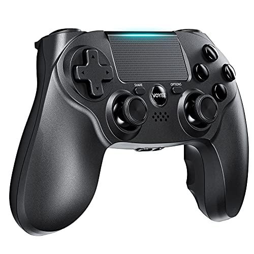 VOYEE Wireless Controller kompatibel mit PS4, mit Verbessertem Joystick/ Double Shock/ Motion Control/ Kopfhöreranschluss kompatibel mit Play-station 4 (Schwarz)
