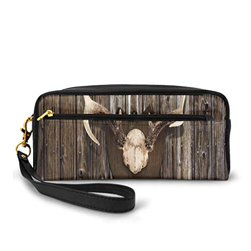 Pencil Case Pen Bag Pouch Stationary,Rustic Home Cottage Cabin Wall with Antlers Hunting Lodge Country House Trophy,Small Makeup Bag Coin Purse