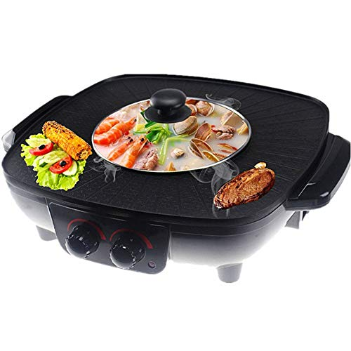HJSGXXN Barbecue Hot Pot Doppeltopf, Korean Thai Integrierte Kochtopf,Multifunktional Elektrische Hot Pot, Elektrische Barbecue Backform (Color : Black)