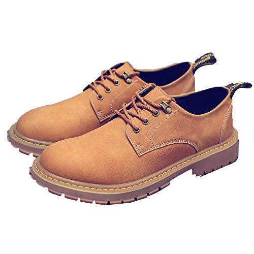 Zapatos de Trabajo para Hombre, Punta Redonda con Cordones, Zapatos de Cuero con Punta Redonda Antideslizantes británicos, Zapatos de Negocios al Aire Libre cálidos de Felpa para Otoño Invierno