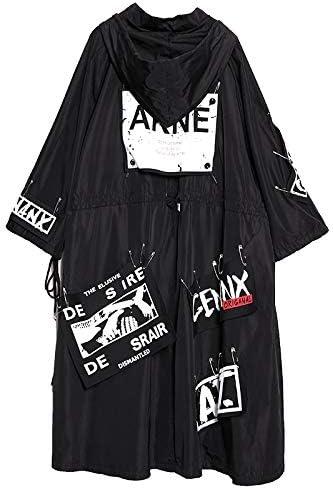 Spliced Black Tide Streetwear Hoodie Wide Waist Designer Trench Coat
