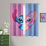 MRFSY Keep Warm Draperies Lilo & Stitch And Angel Ojales térmicamente aislados oscurecimiento cortina divisor de habitación para sala de estar 42 x 54 pulgadas