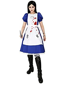 miccostumes Women s Alice Liddell Cosplay Costume Halloween Dress with Apron Skull Pendant  S  Blue