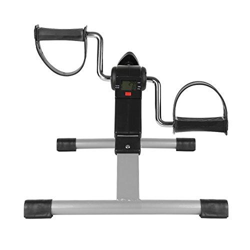 YJIIJY Mini bicicleta estática de casa con pedal plegable, entrenador de pedales, bicicleta estática para rehabilitación, brazos y piernas, pedal ajustable digital manos y pies con pantalla LCD