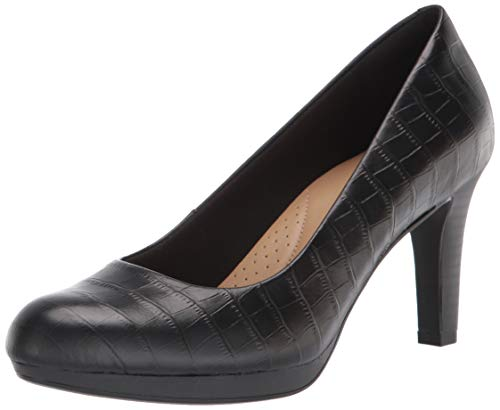 Clarks Women's Adriel Viola Pump, Black Croc Leather, 9