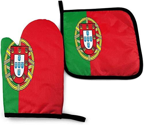 Lawenp Portugal Bandera de cortesía Guantes para Horno y Soportes para ollas Juegos Guantes de Horno Resistentes al Calor con Superficie Antideslizante para cocinar de Forma Segura Hornear Barbacoa B