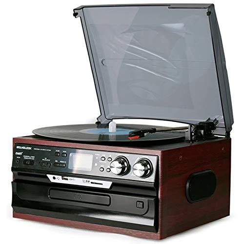 WUBAILI Reproductor De Discos De Vinilo Moderno Multifunción, CD/FM Radio U Disco Tarjeta SD LP Audio Retro Reproductor De Discos Vintage Adornos para Sala De Estar