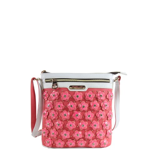 Nicole Lee Makenzie Floral Encrusted Beads Cross Body Bag, Pink, One Size