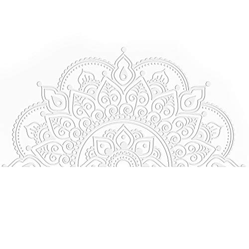 Sticker Mandala, Migaven Boho Bohème Mandala Fleur PVC Mur Fenêtre Autocollant Décoration Murale Stickers pour La Maison Tête De Lit Yoga Studio Décor Blanc