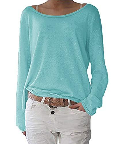 ZANZEA Damen Langarm Lose Bluse Hemd Shirt Oversize Sweatshirt Oberteil Tops Hellblau Medium