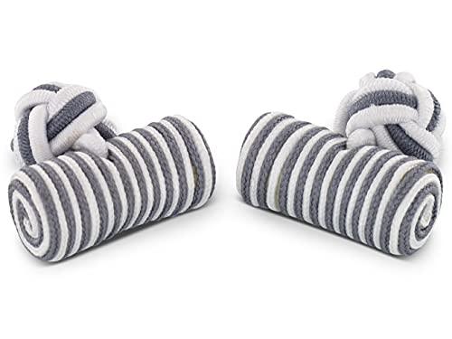 TEROON rouleau de soie boutons de manchette blanc-gris